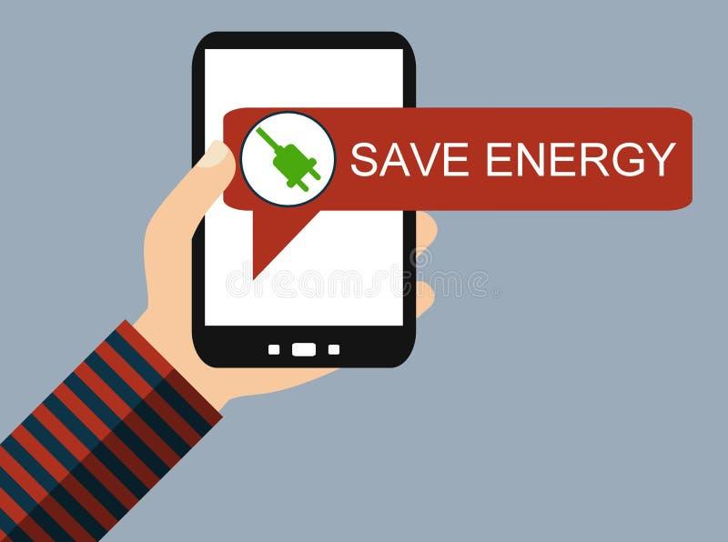 Teléfono móvil: Ahorre la energía - diseño plano libre illustration