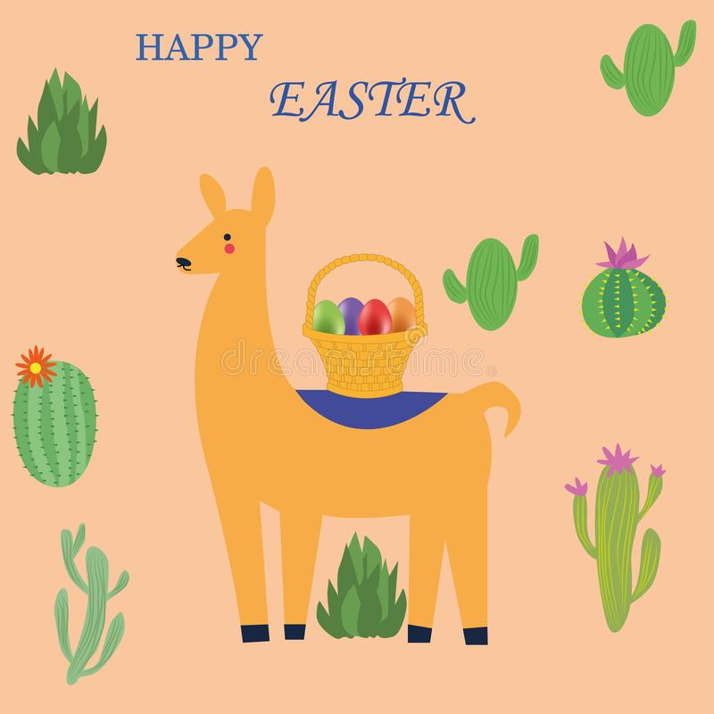 Teléfono móvil amarillo Composición con el lama, una cesta de huevos de Pascua en el desierto libre illustration