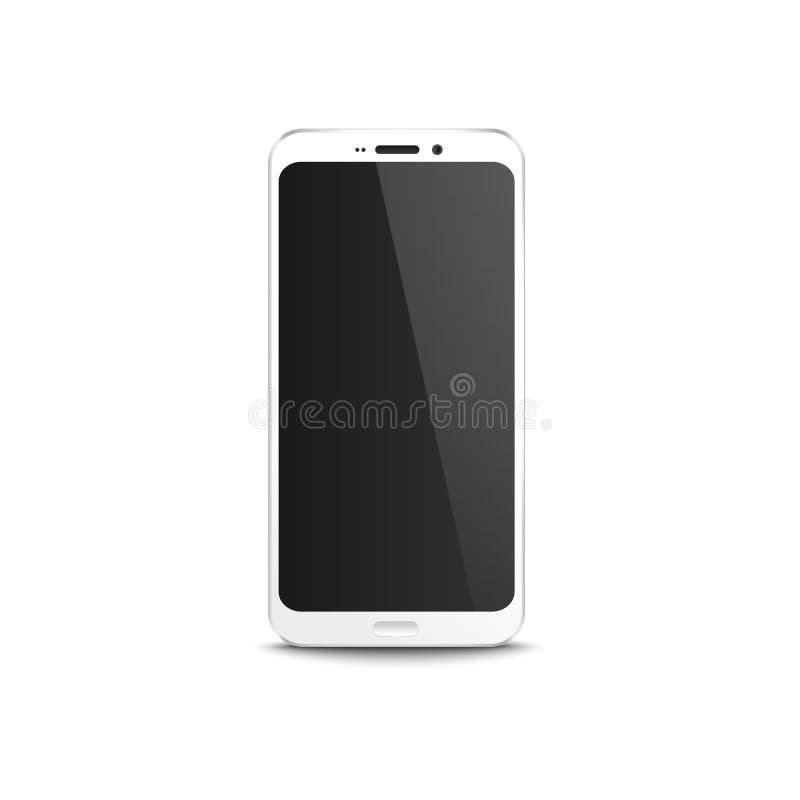 Teléfono móvil blanco con la exhibición en blanco negra, maqueta realista del smartphone moderno con la pantalla de inicio bloque stock de ilustración