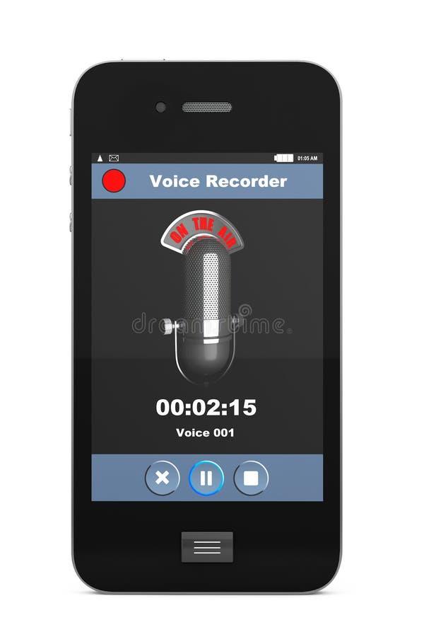 Teléfono móvil como grabadora de voz ilustración del vector