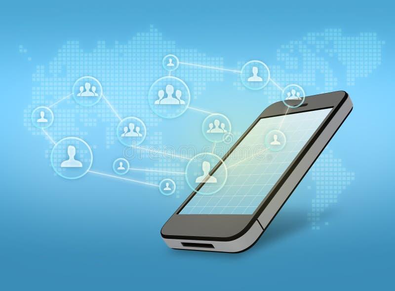 Teléfono móvil con el icono de la gente ilustración del vector