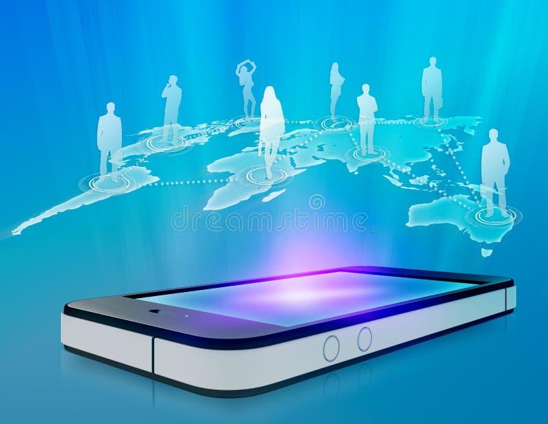 Teléfono móvil con el icono de la gente stock de ilustración