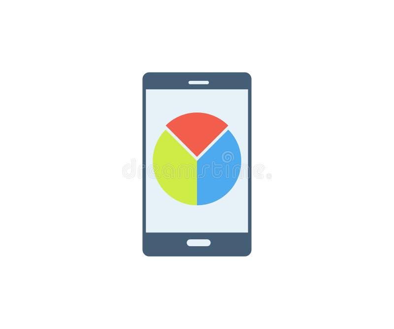 Teléfono móvil con el icono del gráfico de sectores Ejemplo del vector en estilo minimalista plano ilustración del vector
