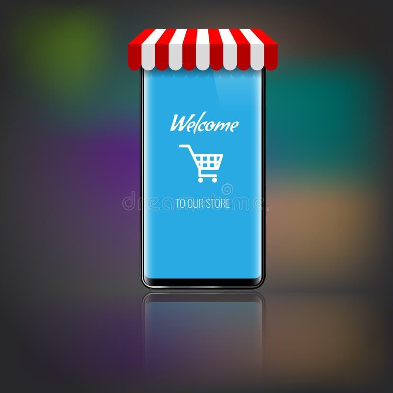 Teléfono móvil con el toldo rayado de la tienda o del mercado y el icono o el carro que hace compras Ilustración del vector stock de ilustración