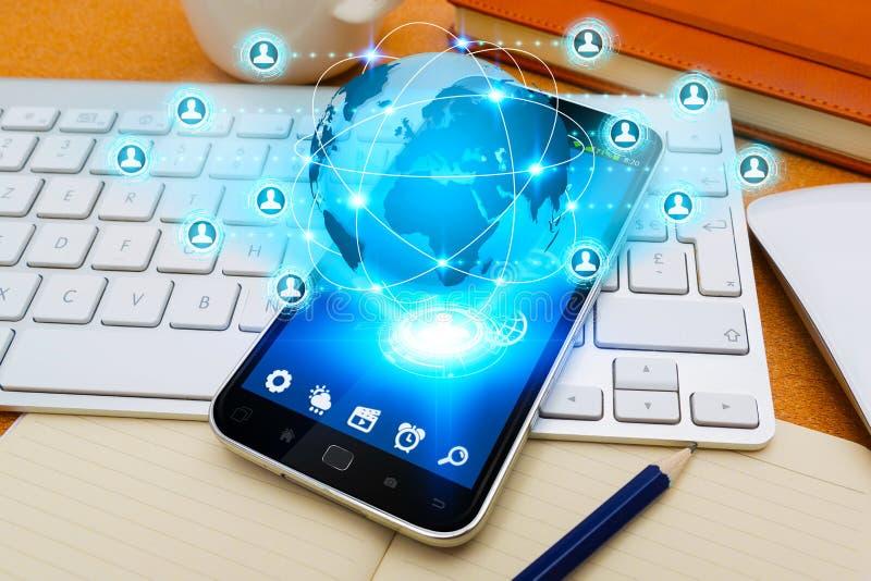 Teléfono móvil con el uso social de la red stock de ilustración
