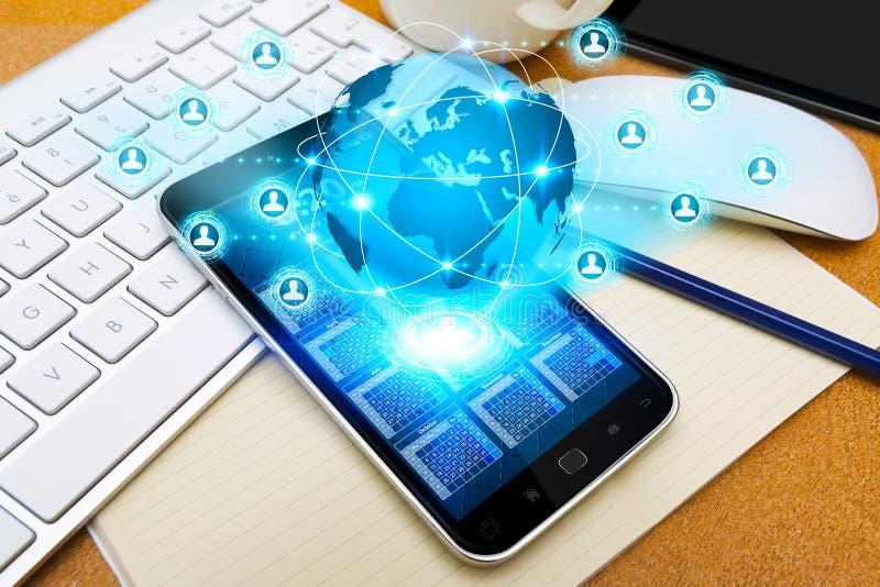 Teléfono móvil con el uso social de la red ilustración del vector