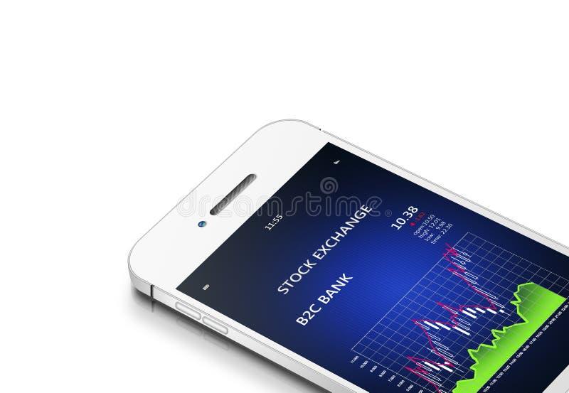 Teléfono móvil con la carta de la bolsa de acción sobre blanco stock de ilustración