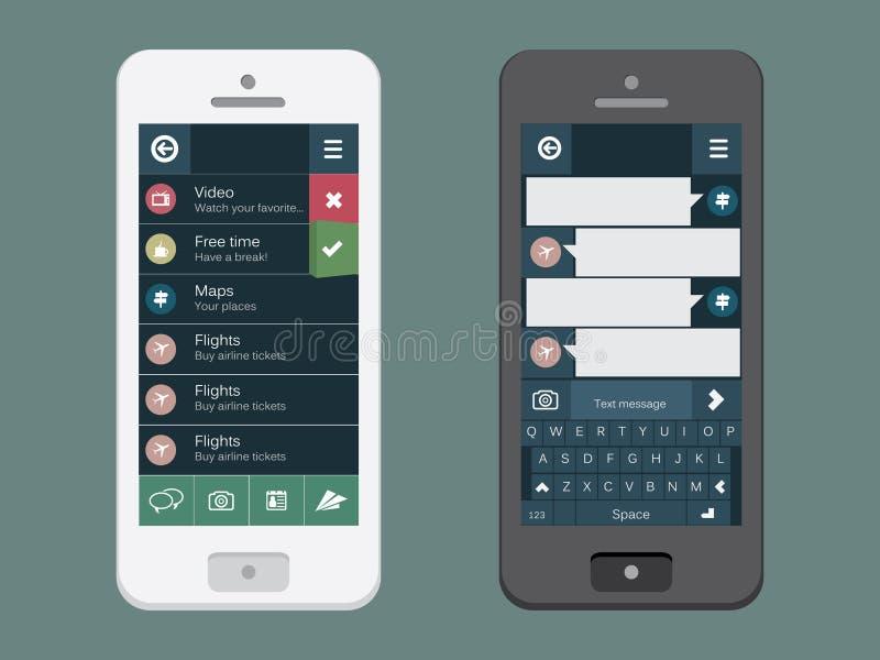 Teléfono móvil con la interfaz de usuario plana stock de ilustración