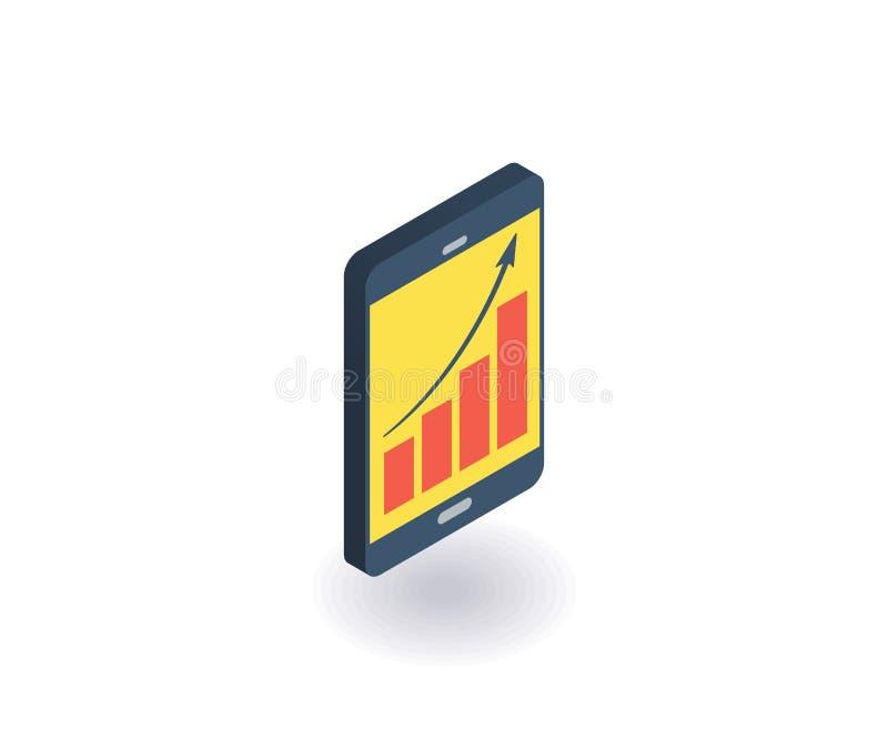 Teléfono móvil con la línea icono de la carta Ejemplo del vector en el estilo isométrico plano 3D ilustración del vector
