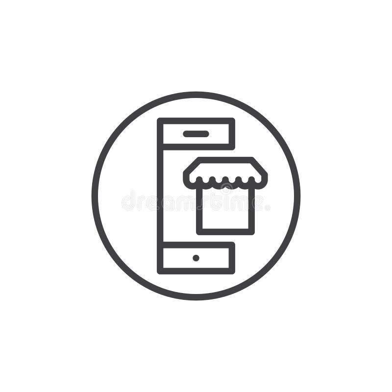 Teléfono móvil con la línea icono del mercado stock de ilustración