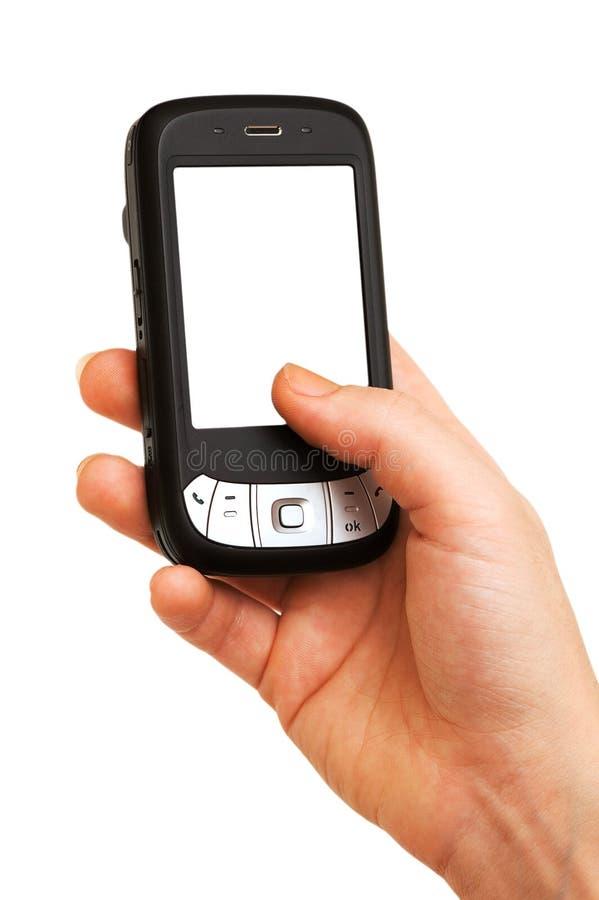 Teléfono móvil con la pantalla en blanco imagenes de archivo