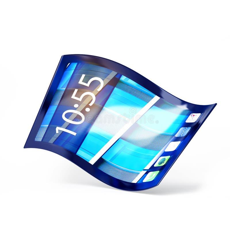 Teléfono móvil con la pantalla flexible aislada en blanco ilustración del vector
