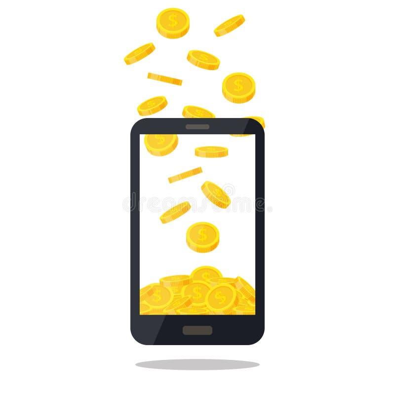 Teléfono móvil con la pila de la moneda de oro aislada en el fondo blanco Montón del dinero del efectivo, monedas de oro que caen libre illustration