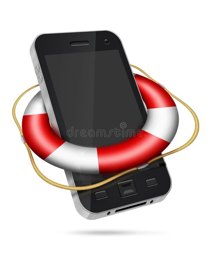 Teléfono móvil con lifebuoy ilustración del vector