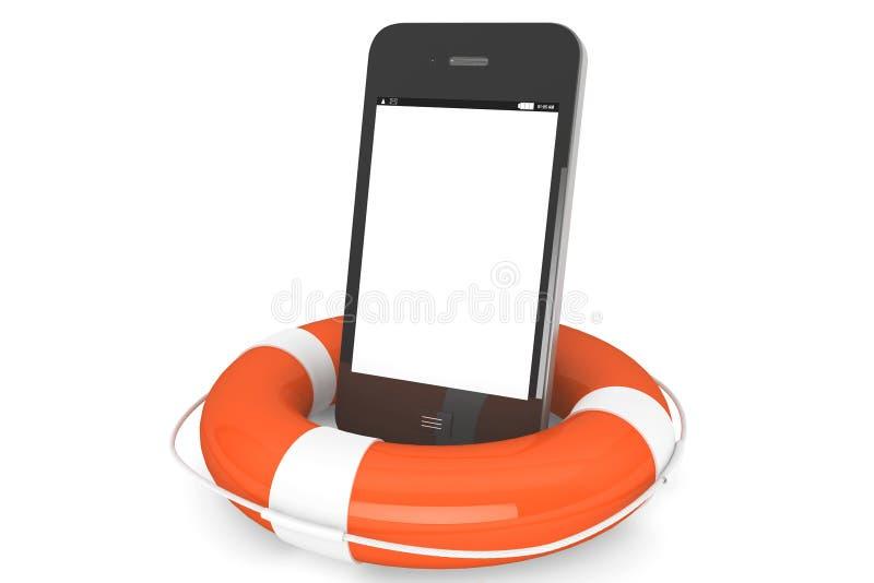 Teléfono móvil con lifebuoy stock de ilustración