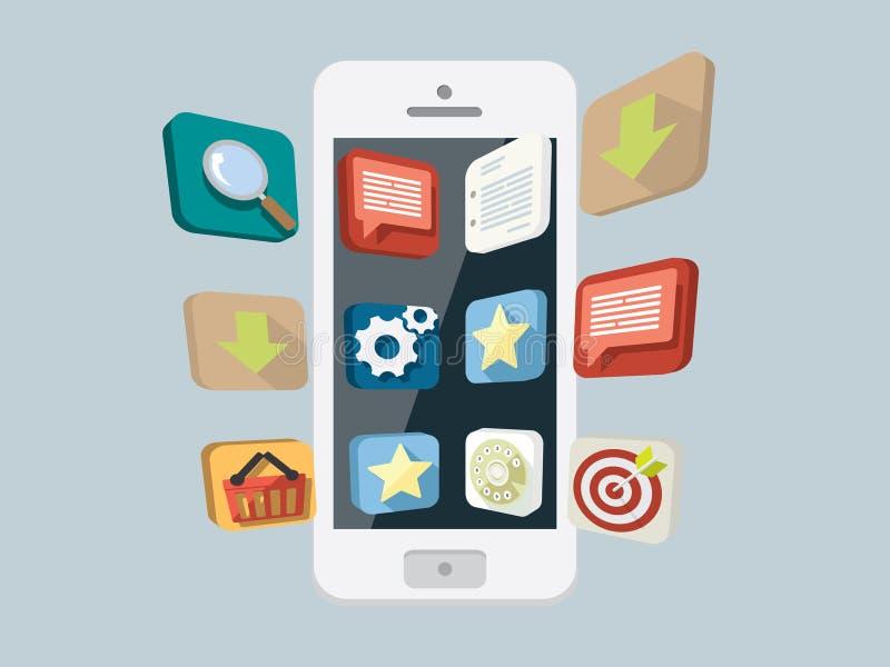 Teléfono móvil con los iconos flotantes libre illustration