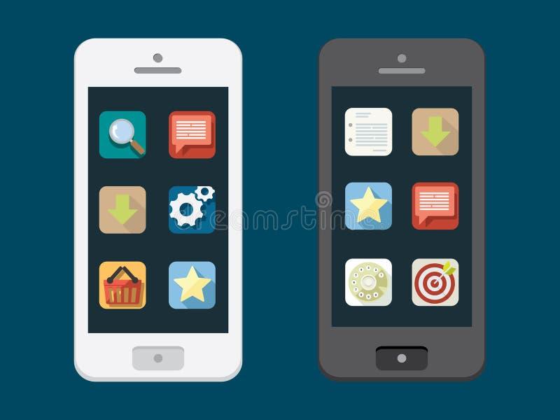 Teléfono móvil con los iconos planos stock de ilustración