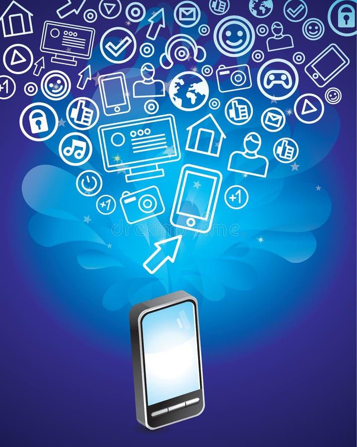 Teléfono móvil con los iconos sociales brillantes de los media stock de ilustración