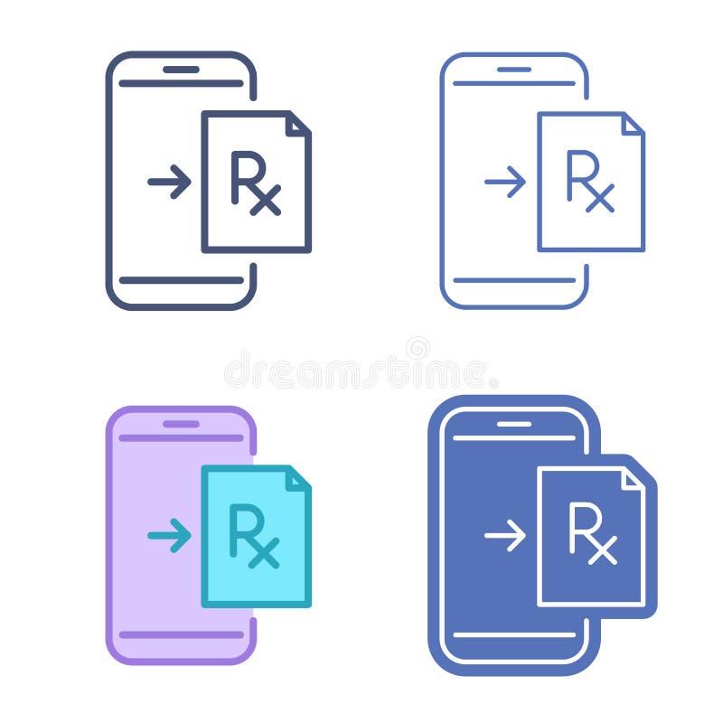 Teléfono móvil con símbolo de la prescripción Outli del vector de la telemedicina stock de ilustración
