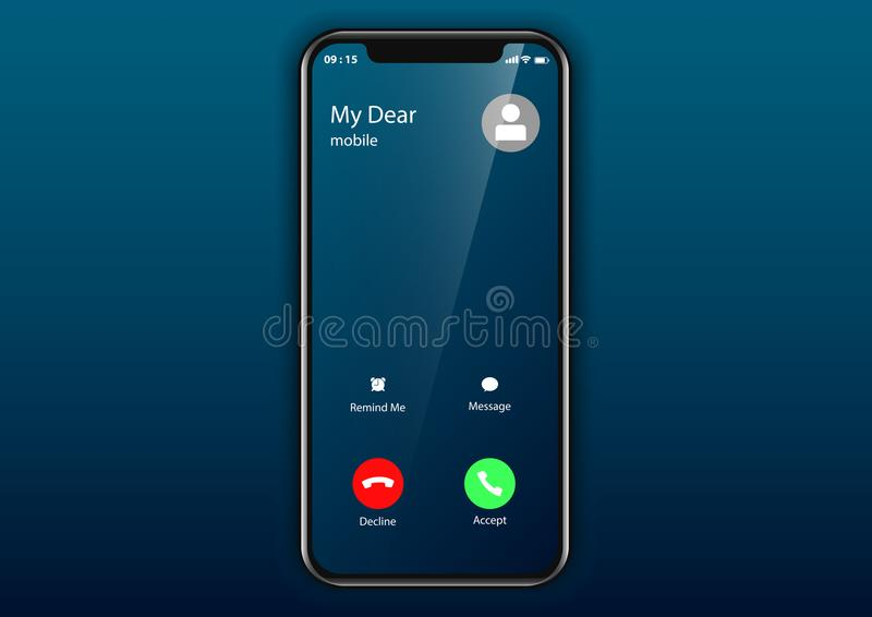 Teléfono móvil de la interfaz de usuario de la pantalla de la llamada entrante foto de archivo