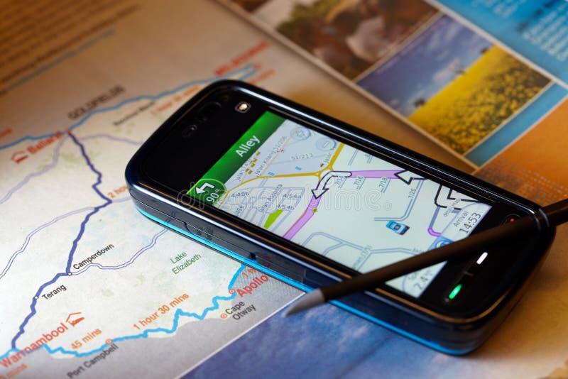 Teléfono móvil de la navegación de los Gps imagen de archivo