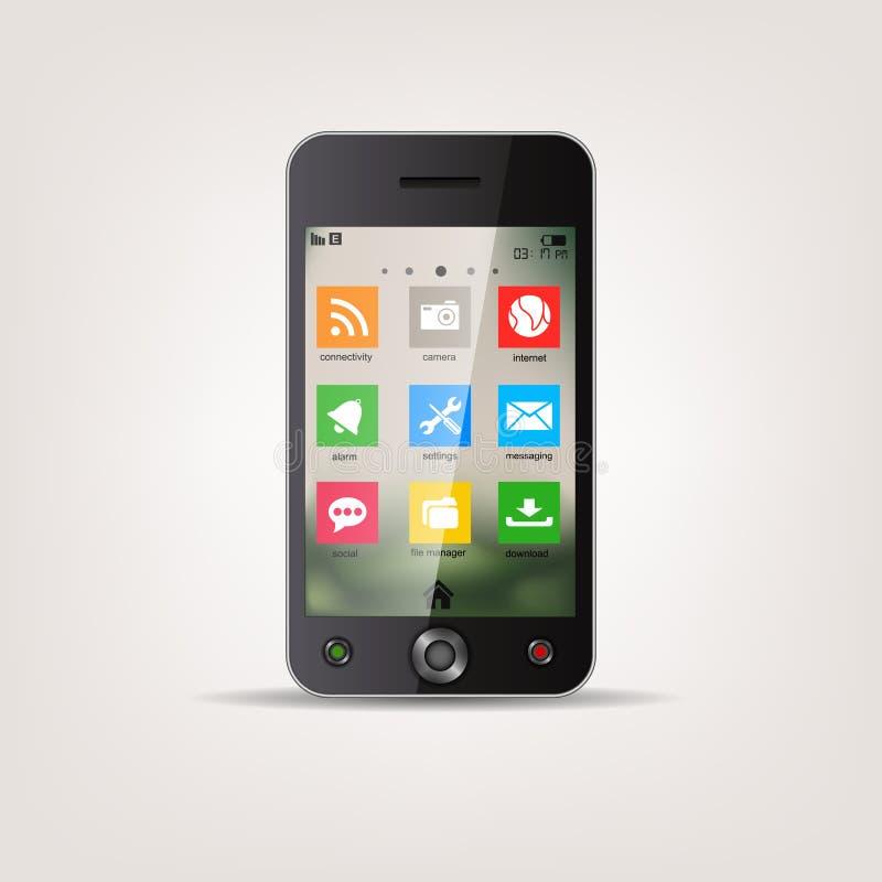 Teléfono móvil de la pantalla táctil con el menú del icono del estilo del metro stock de ilustración