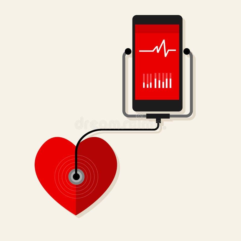 Teléfono móvil de la supervisión del ritmo cardíaco de la salud ilustración del vector