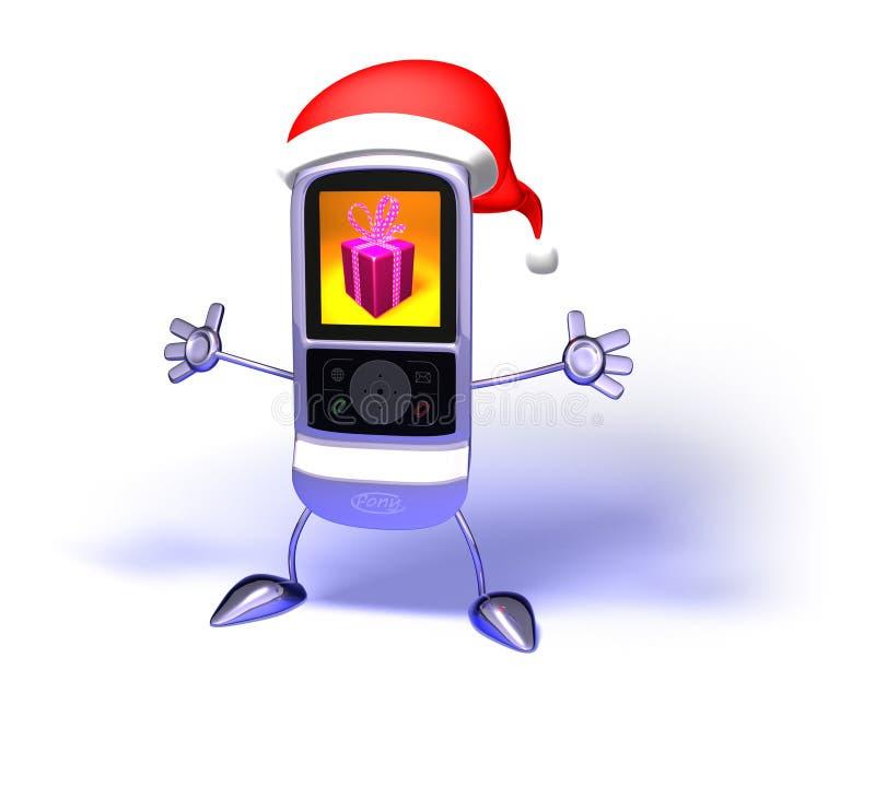 Teléfono móvil de Papá Noel stock de ilustración