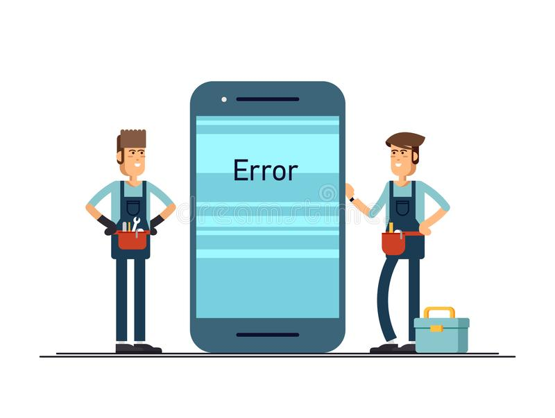 Teléfono móvil de reparación principal vector el ejemplo en el estilo plano para su diseño stock de ilustración