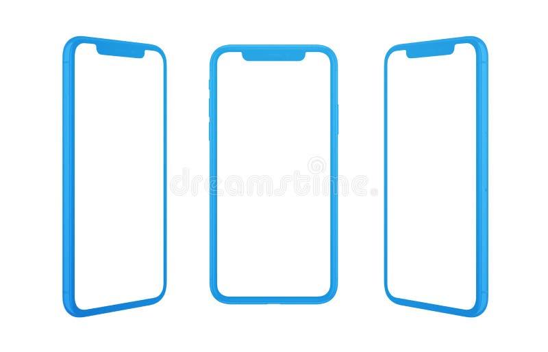 Teléfono móvil del concepto plano aislado en tres posiciones imagen de archivo libre de regalías