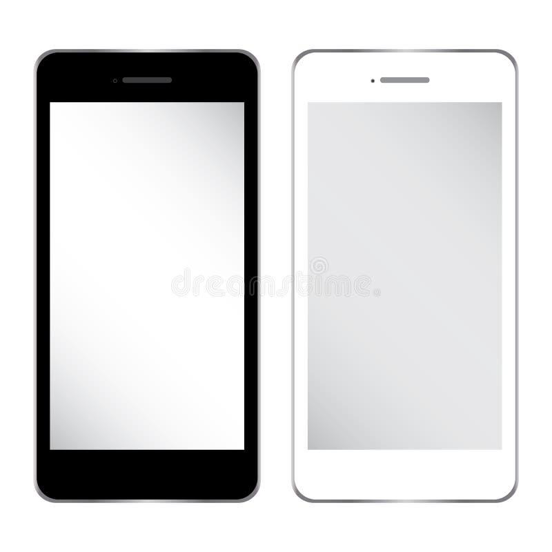 Teléfono móvil del negocio blanco y negro Vector para el estilo del iPhone aislado en el fondo blanco stock de ilustración