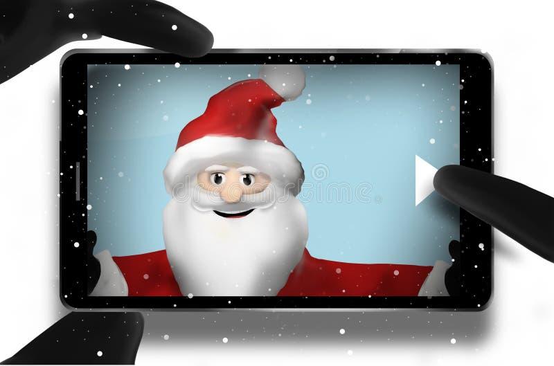 Teléfono móvil del punto de vista de Santa Claus Browsing Selfie Photos stock de ilustración