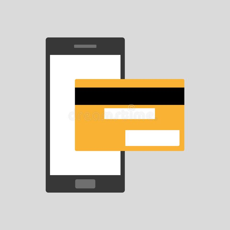 Teléfono móvil del smartphone negro plano del estilo con el pago amarillo de la tarjeta de crédito bancaria Smartphone y pagos stock de ilustración