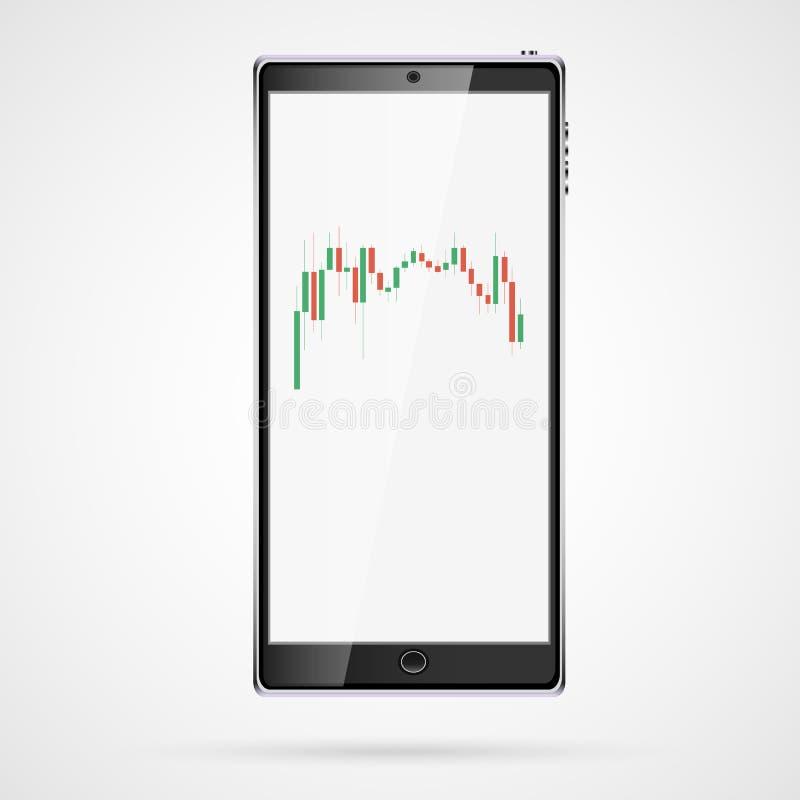 Teléfono móvil del tacto elegante vertical grande realista negro, smartphone con las velas japonesas, carta del intervalo de camb ilustración del vector