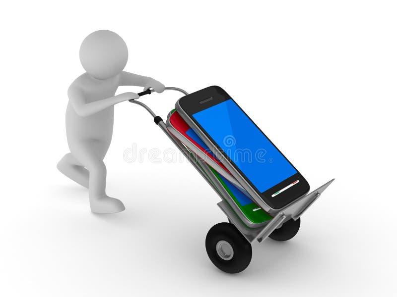 Teléfono móvil del transporte del hombre. 3D aislado ilustración del vector