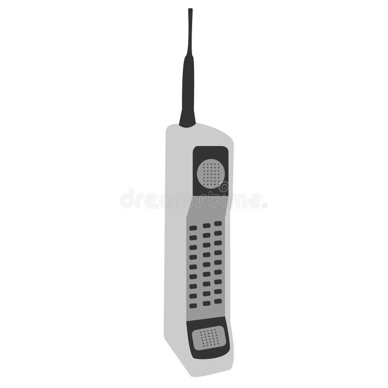 Teléfono móvil del viejo vintage retro cuadrado de botón grande celular a granel gris del inconformista con la antena larga libre illustration