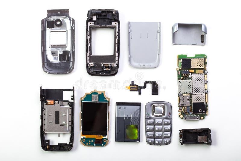 Teléfono móvil desmontado imágenes de archivo libres de regalías