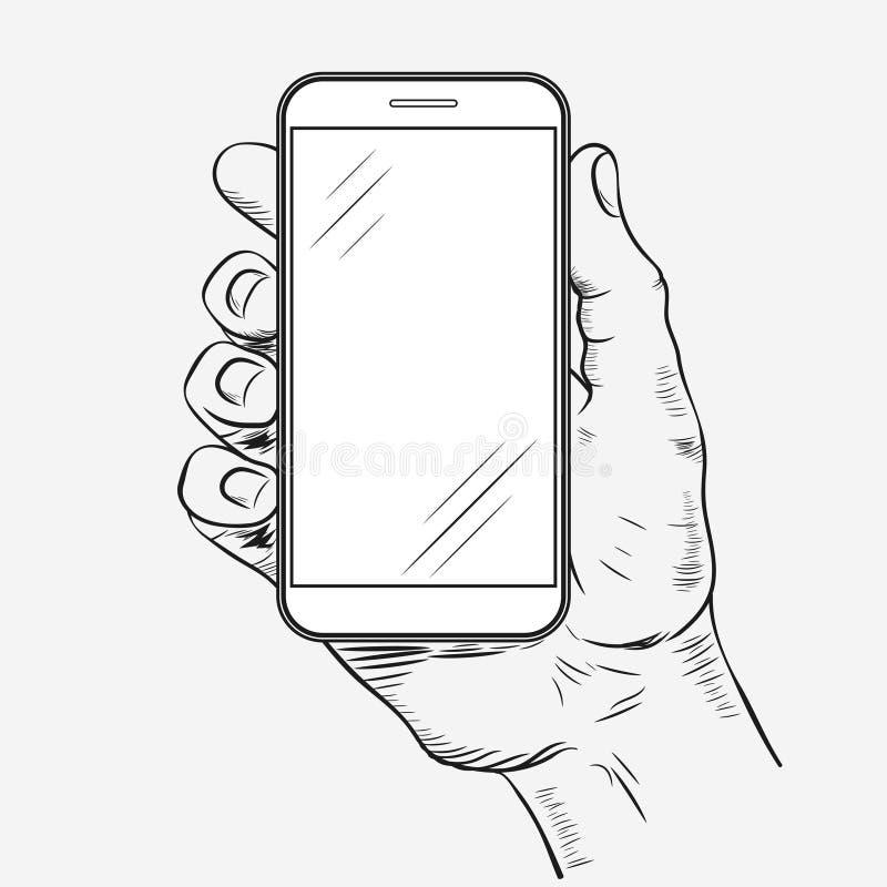 Teléfono móvil a disposición stock de ilustración
