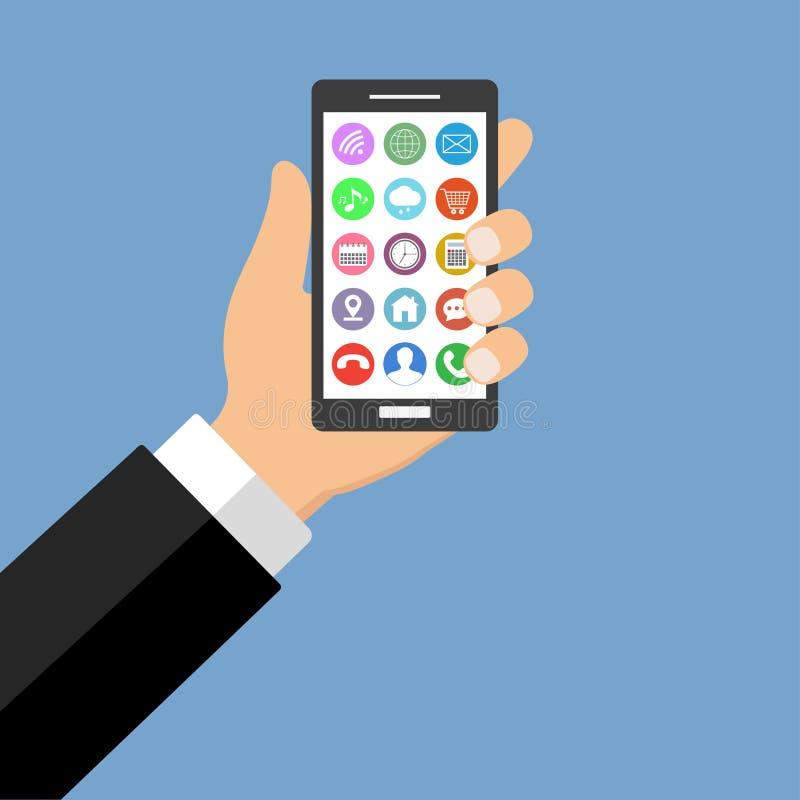 Teléfono móvil a disposición con los accesorios en un fondo azul stock de ilustración