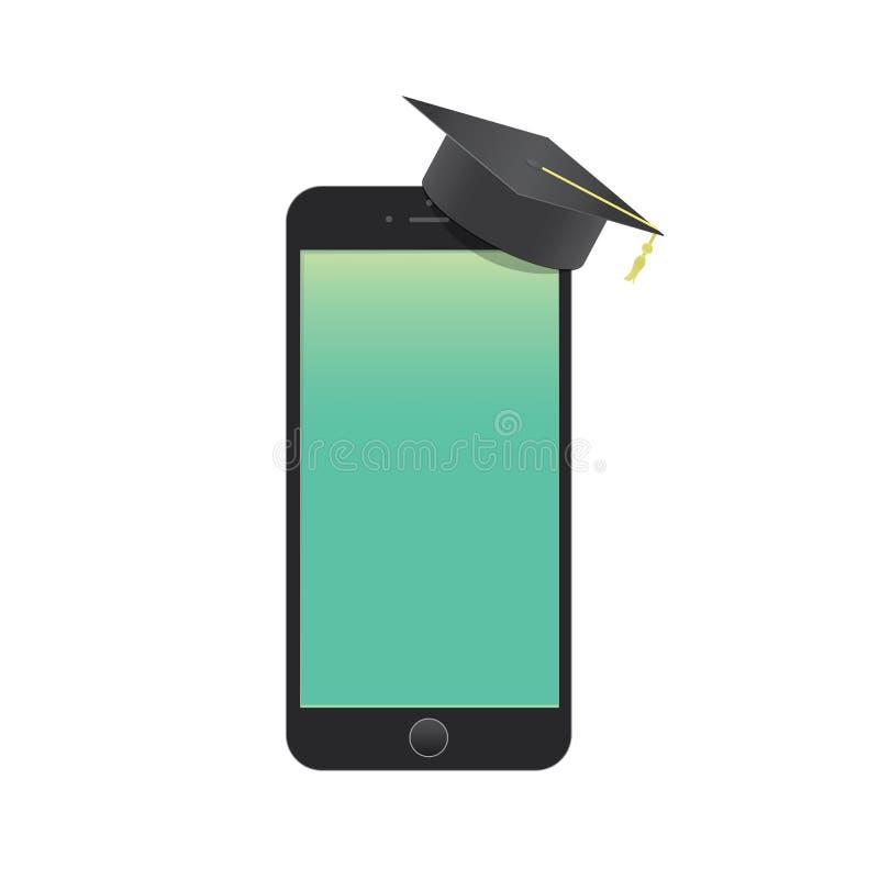 Teléfono móvil en blanco con el aprendizaje malo del sombrero de la graduación con stock de ilustración