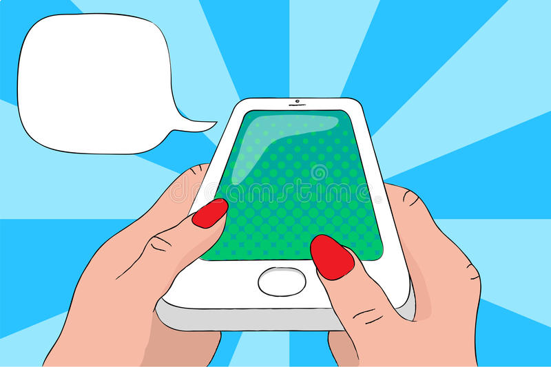 Teléfono móvil en manos con la burbuja del texto Ejemplo del arte pop de Smartphone ilustración del vector
