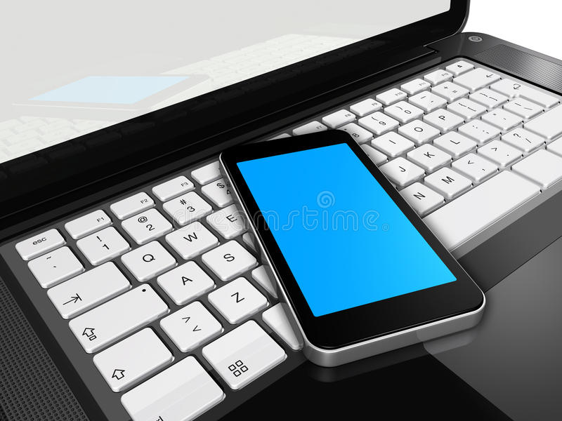 Teléfono móvil en una computadora portátil ilustración del vector