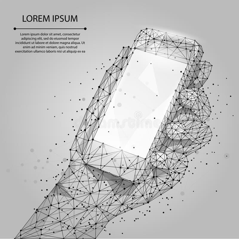 Teléfono móvil gris abstracto de la línea y del punto con la pantalla vacía, sosteniéndose por la mano del hombre stock de ilustración