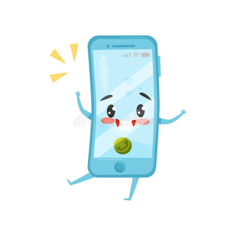 Teléfono móvil humanizado azul con llamada entrante Smartphone de sonido Personaje de dibujos animados con la cara feliz Icono pl libre illustration