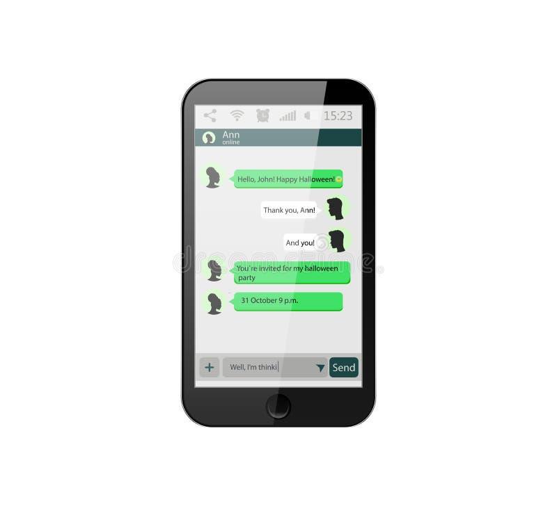 Teléfono móvil Ilustración del vector Concepto social de la red Vector Ventana del mensajero Chating y concepto de la mensajería  libre illustration
