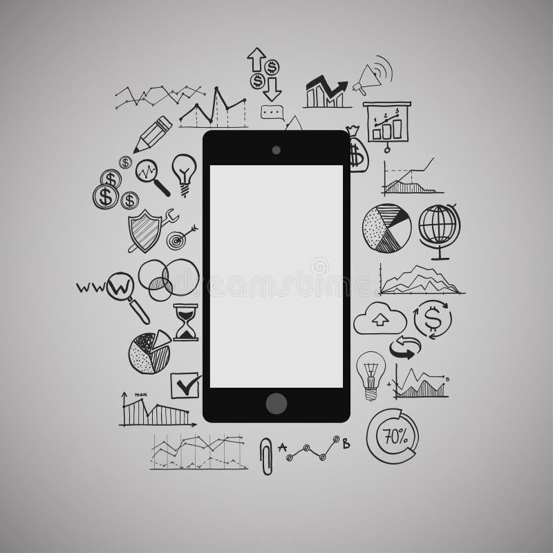 Teléfono móvil, infographic, negocio, medio social stock de ilustración