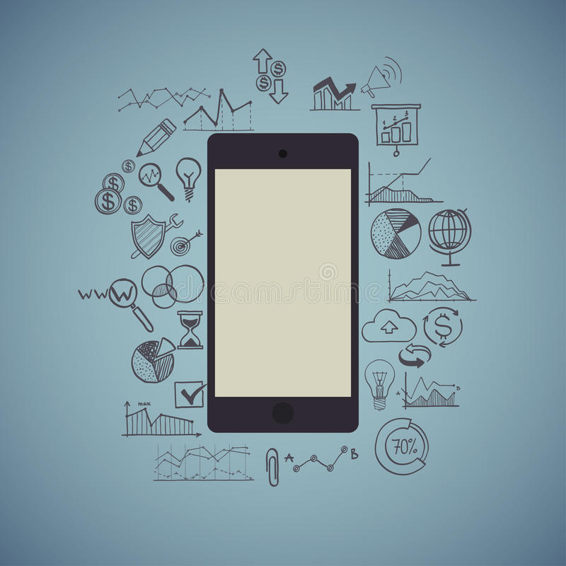 Teléfono móvil, infographic, negocio, medio social libre illustration