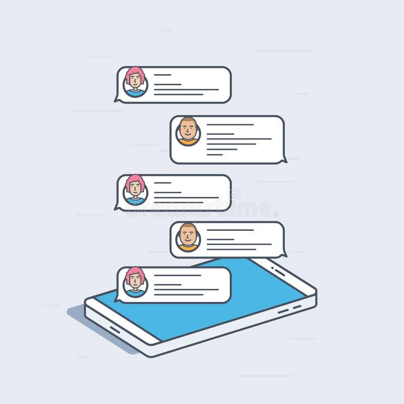 Teléfono móvil isométrico con los mensajes de la charla, concepto de las notificaciones Ejemplo moderno colorido del vector libre illustration
