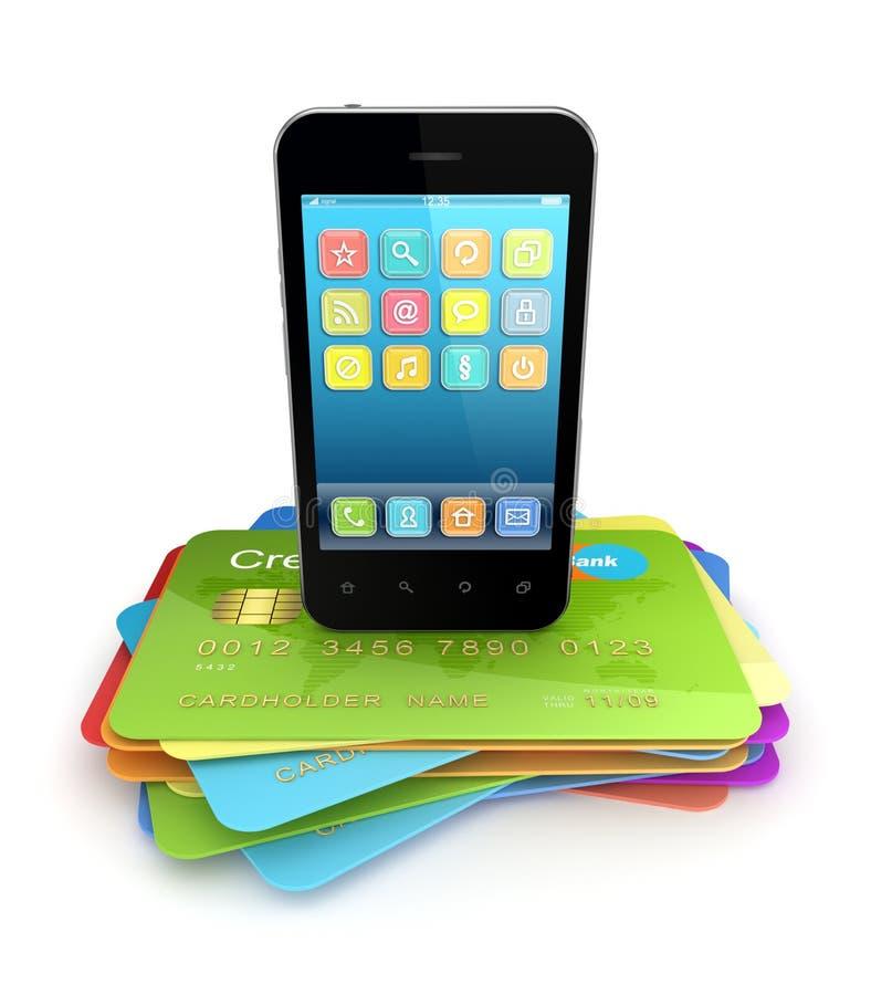 Teléfono móvil moderno en tarjetas de un crédito coloridas. ilustración del vector