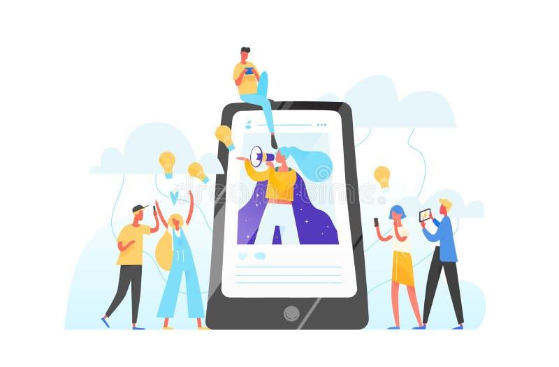 Teléfono móvil, mujer con el megáfono en la pantalla y gente joven que la rodea Márketing de Influencer, medio social o stock de ilustración